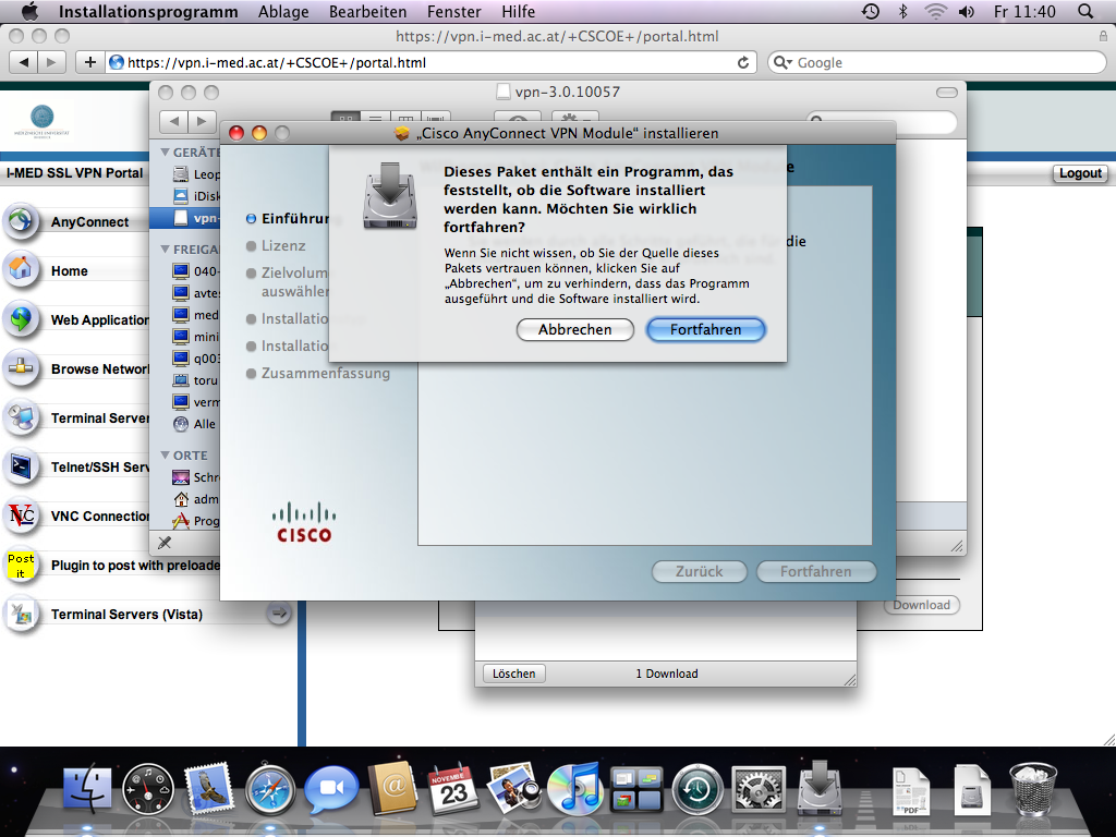 Installation AnyConnect unter Mac OS X - Medizinische
